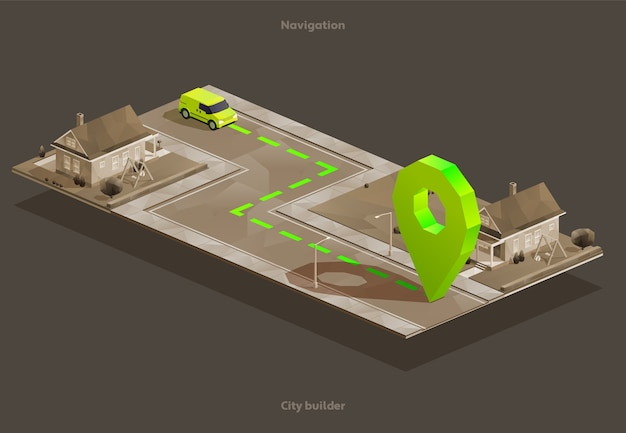 Gps car navigation on isometric city map to home with pin