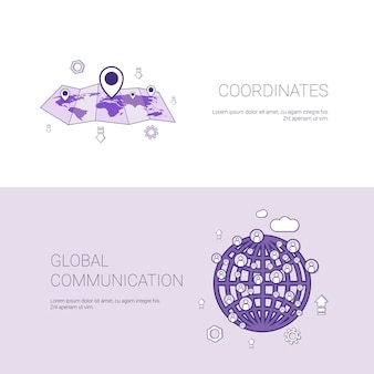 Gps coordinates map and gobal communication template banner