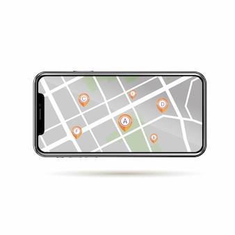 Gps icon a to f random point in street map  on mobile phone isolate white background