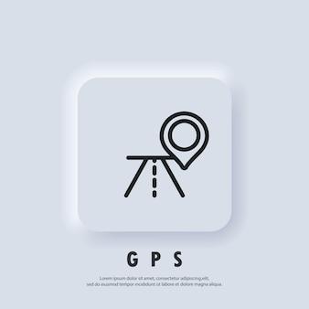 Значок gps. значок карты. расположение маршрута и значок булавки на карте. вектор eps 10. значок пользовательского интерфейса. белая веб-кнопка пользовательского интерфейса neumorphic ui ux. неоморфизм