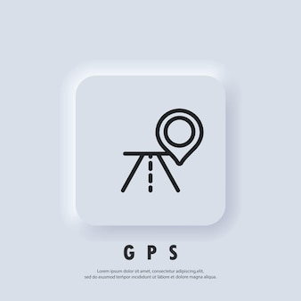 Gps icon. map pin. route location and map pin icon. vector eps 10. ui icon. neumorphic ui ux white user interface web button. neumorphism