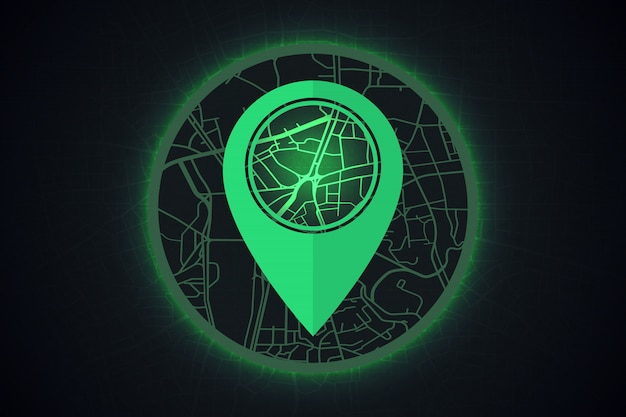 Gps icon on map smart city concept.