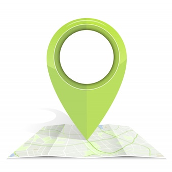 Gps icon mock up green color on map paper