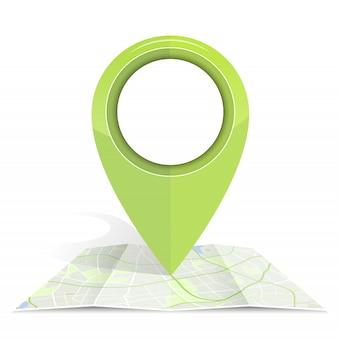 Значок gps макет зеленого цвета на карте бумаги