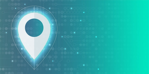 Gps icon with glow light and circuit element background