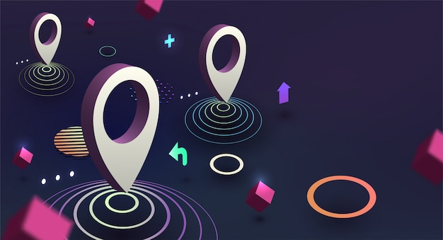 Gps isometric concept with geometric elements
