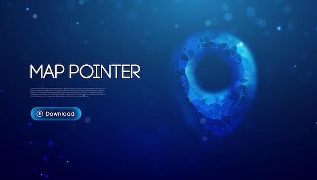 Gpsロケーションピン。ジオロケーションマップマーク、ポイントロケーション。青の背景に3dスタイルの未来技術gps。 3dベクトルイラスト。青い抽象的な未来的なビジネスベクトル旅行の概念。