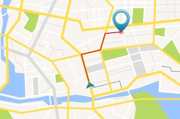 Карта gps с булавкой и направлением