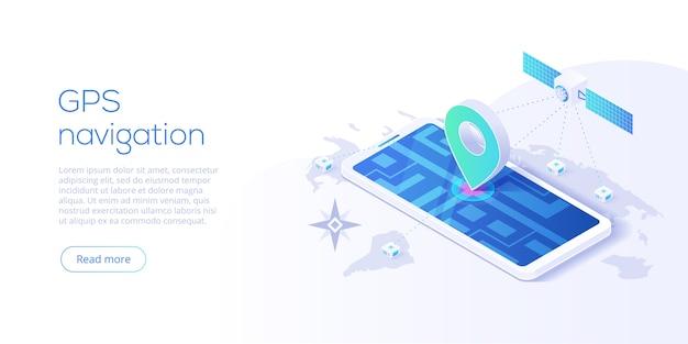 Концепция приложения gps-навигации в изометрическом дизайне