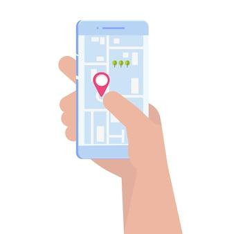 Gpsナビゲーションアプリ、検索マップのコンセプト。