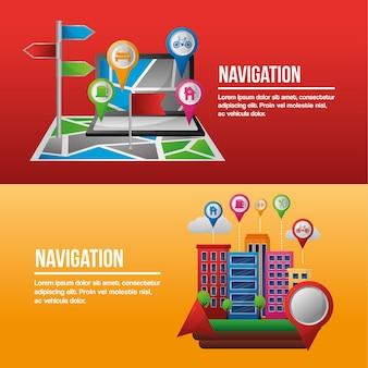Gps навигационное приложение баннеры компьютерные здания места мест прибытия пунктов