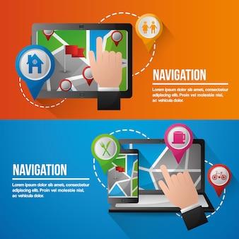 Gps навигационное приложение баннеры компьютеры руки указаны места расположения экрана