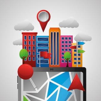 Gps навигационное приложение облака высокие здания места ubications