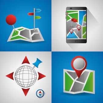 Gps 네비게이션 응용 프로그램 화려한 배너 ubication 위치 대상 세계 기술
