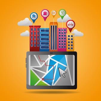 Gps навигационное приложение высокие здания точки прибытия точки места