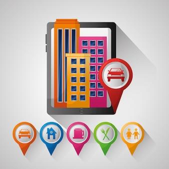 Gps навигационное приложение высокие здания pin карты места назначения