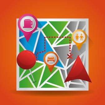 Gps навигационное приложение отображает местоположения мест назначения