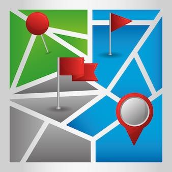 Gps 네비게이션 애플리케이션 유비 네이션 플래그 핀 맵 위치