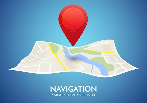 Gps navigation background. road map isolated on white with pointer.