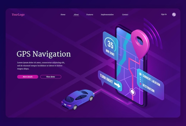 Gps navigation banner online digital service for vehicle with location search on mobile phone