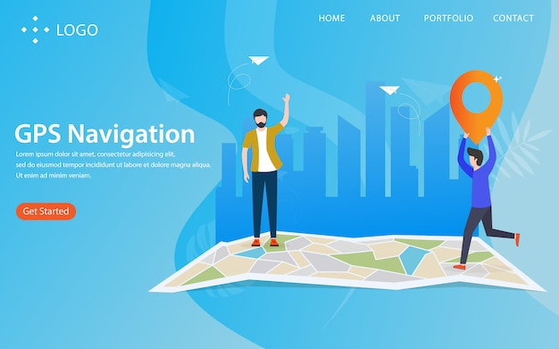 Gps navigation, landing page with illustration concept