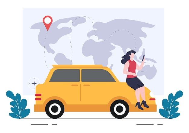 Gps navigation map and compass on location search application shows the position or route you are going. background vector illustration