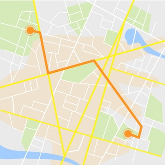 Gps-навигация. дорожная карта на белом с указателем