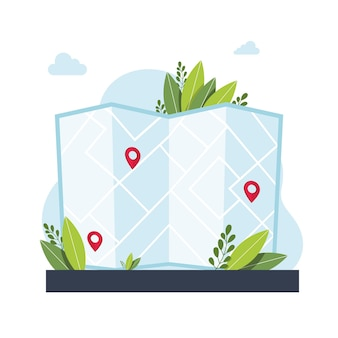 Приложение службы gps-навигации. карты, получить метафоры направлений. вектор изолированных концепция метафоры иллюстрации. получите абстрактное понятие направления. векторная иллюстрация