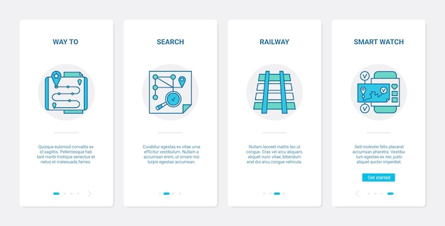 Gps navigation service. ux, ui onboarding mobile app set digital technology for phone to search way direction to location, railway, smart watch symbols
