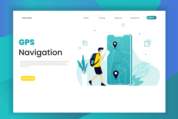 Gps navigation system landing page with characters