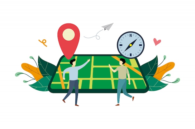 Gps navigation system, location on the city map flat illustration with small people