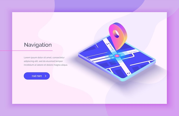 Gps navigation system mobile application for navigation gps smart tracker mobile phone is a mark on the map modern vector illustration isometric style