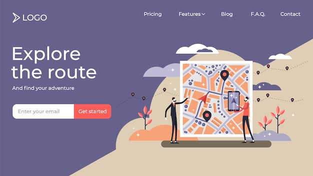 Gps navigation tiny person illustration landing page template