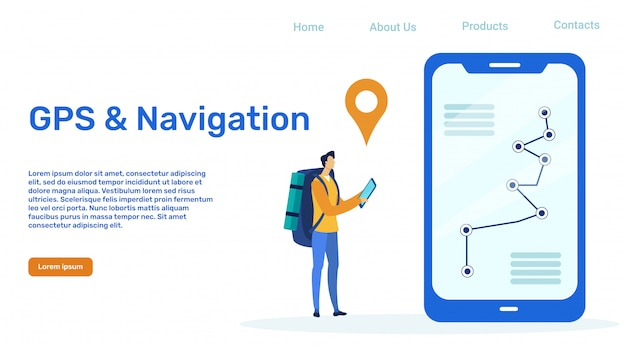 Gps and navigation vector landing page template