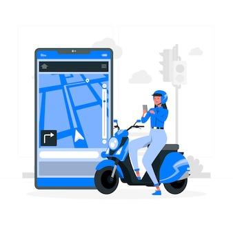 Illustrazione di concetto di navigatore gps Vettore gratuito