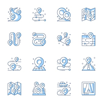 Gps navigator, geo tag linear vector icons set.