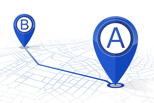 Gps navigator pin checking point a to point b dark blue color on white background