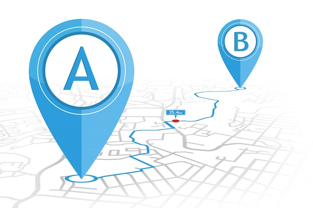 Gps navigator pin checking point a to point b on street map with distance pointer