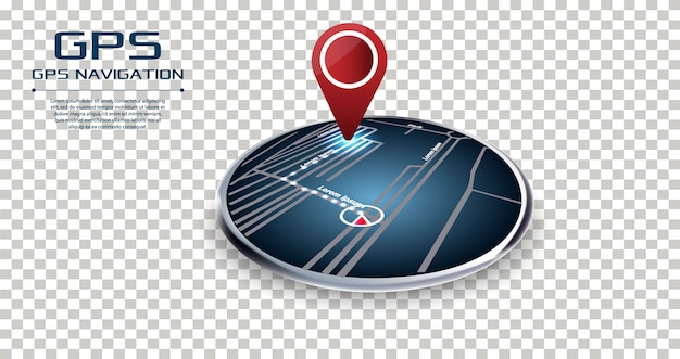 Gps navigator pin checking point to point red color