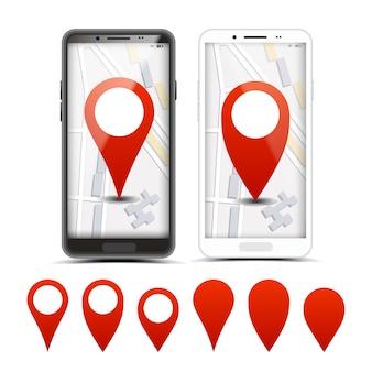Gps-навигатор красные указатели, набор маркеров