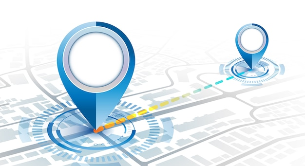 Gps pin 2 point  mockup with hud element digital concept in gradient cool color