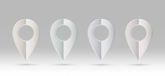 Gps pin icon metallic 4 color