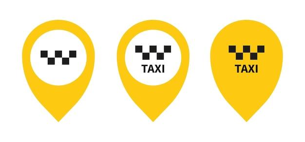 タクシーのアイコンとgpsポインターマップ白い背景の上の黄色の丸い形ベクトルイラストwebde