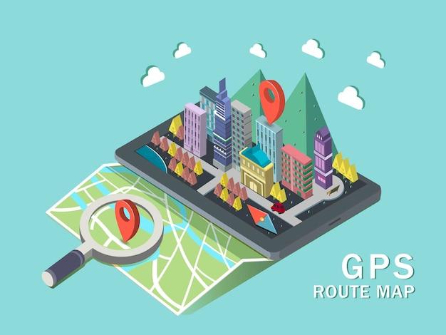 Карта маршрута gps 3d изометрическая инфографика с планшетом, показывающим красивую городскую сцену
