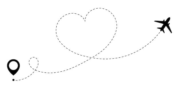 Gps маршрут любви путешествия самолета. любовное путешествие, которое отслеживается пунктирной линией сердечного маршрута.