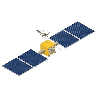 Gps衛星は黄色でソーラーパネルが付いています。等角投影図。ワイヤレステクノロジー。ナビゲーションシステム。フラット3dベクトルイラスト。