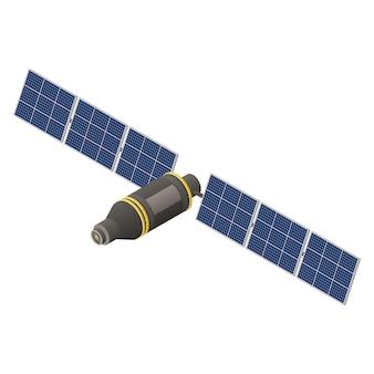 ソーラーパネルを備えたgps宇宙衛星。等角投影図。ワイヤレステクノロジー。ナビゲーションシステム。フラット3dベクトルイラスト。