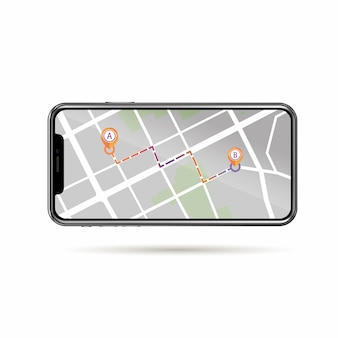 Gps tracking  in street map on mobile screen