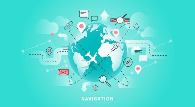 地図ナビゲーション、ジオ技術、gpsのベクターwebバナー。線形およびフラットスタイル。
