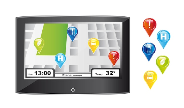 Gps with colorful icons over white background vector illustration